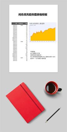 纯色填充趋势图表格模板
