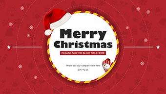 红色卡通扁平化圣诞节PPT模板