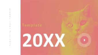 欧美风时尚猫咪主题图文展示PPT模板