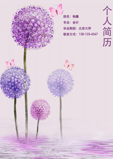 紫色球球花会计简历模板