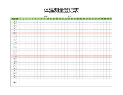 体温测量登记表