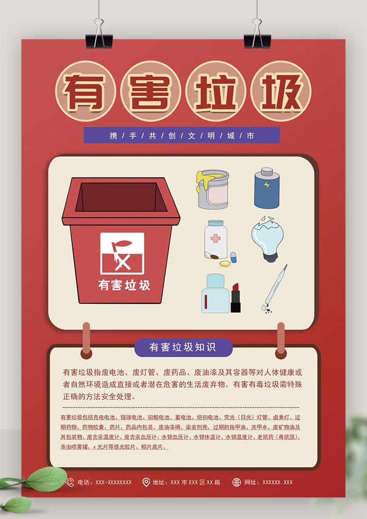 垃圾分类知识有害垃圾宣传海报