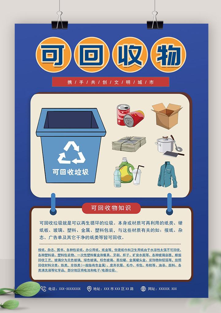垃圾分类知识可回收垃圾分类海报