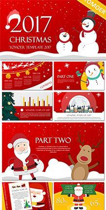 红色可爱卡通圣诞节PPT模板