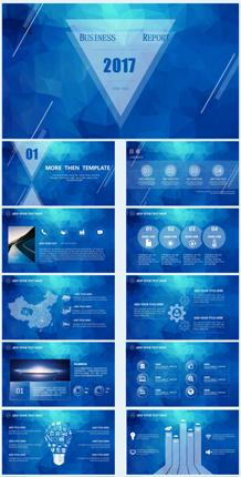 蓝色晶体化星空风格PPT模板
