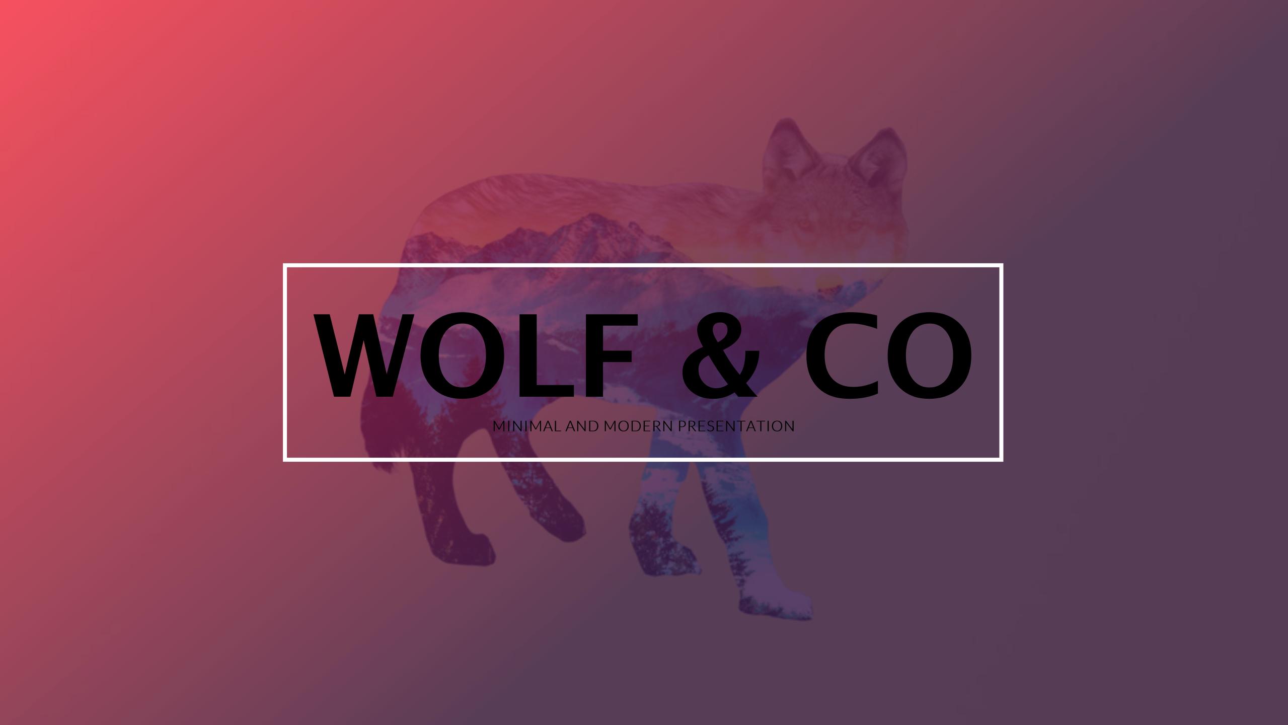 狼与山商务PPT模板